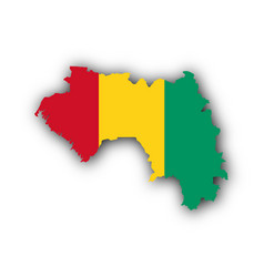 Map and flag of guinea vector