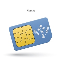 Kosrae mobile phone sim card with flag vector