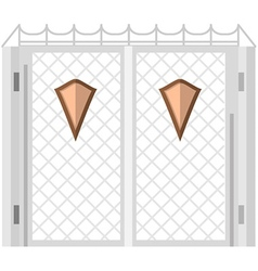 Flat color icon for steel gates with shields vector