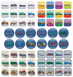 Transport icons in various styles vector image