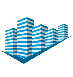 Blue sign with skyscrapers vector