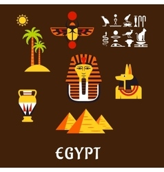 Egypt travel and ancient culture icons vector