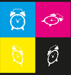 Alarm clock sign white icon with vector