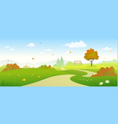 autumn forest pathway vector image