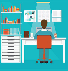 Businessman working in home office vector