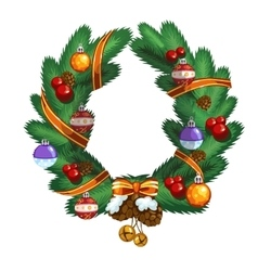 Christmas wreath with ball pinecone and ribbon vector