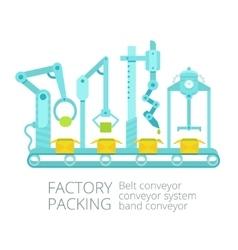 Conveyor factory packing vector