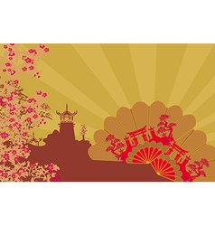 Decorative chinese landscape and beautiful fans vector