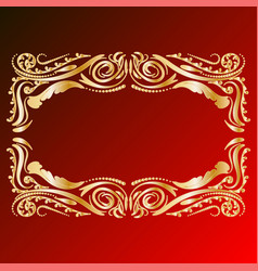 Decorative frame retro gold frame on red vector
