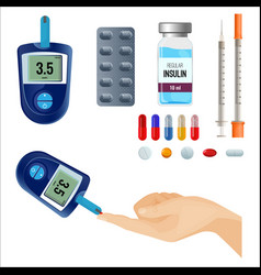 Device to measure sugar level and medicines for vector