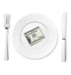 Dollars on plate vector image