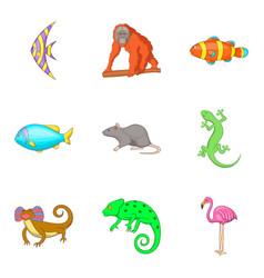 Earth fauna icons set cartoon style vector