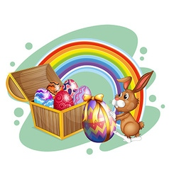 Easter bunny and chest full of eggs vector