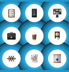 Flat icon oneday set of questionnaire mattress vector