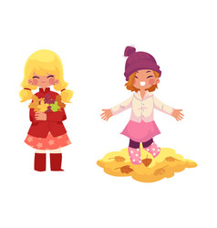Girls play with autumn leaves isolated vector