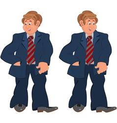 Happy cartoon man standing in striped tie vector image vector image