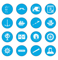 Happy columbus day icon blue vector