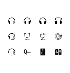 Headphones and speakers icons on white background vector image vector image