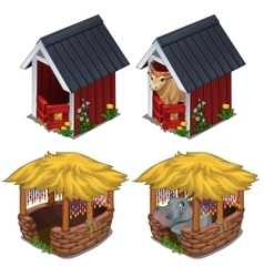 Hippo and bull in cozy enclosures for animals vector image