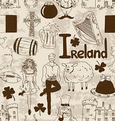 Irish symbols seamless pattern vector