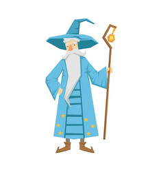 magic old man with magic staff colorful fairy vector image