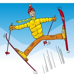 Man jump on ski cartoon vector