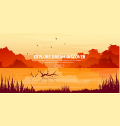 mountains with forest and lake river trees vector image vector image