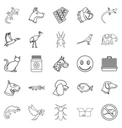 pet icons set outline style vector image vector image