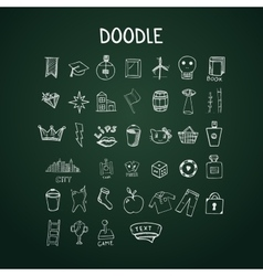 Set of doodle icons on chalkboard vector image vector image