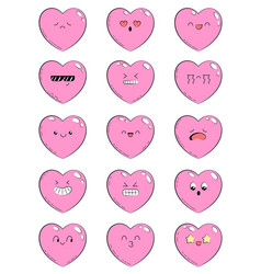 Set of icons with different emotions heart vector