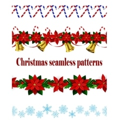 Set of n seamless christmas borders vector