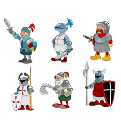 set of six knights vector image