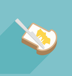 slice of toast bread with knife spreading butter vector image