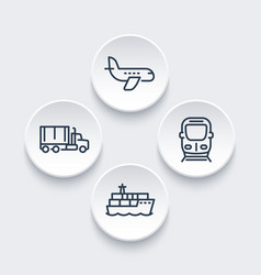 transportation industry icons in linear style vector image vector image