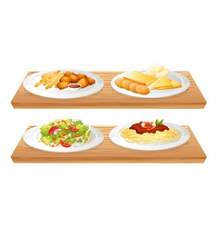 Two wooden trays with four plates full of foods vector image vector image