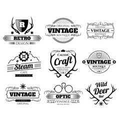 vintage hipster logos and labels set with vector image vector image
