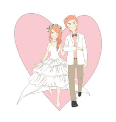 Wedding cute couple vector