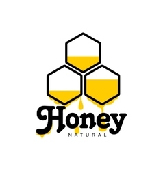 Hand-drawn honeycomb logo for honey products vector