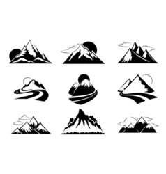 Mountains silhouettes  Mountain set for outdoor vector image