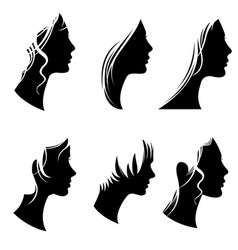 Beautiful woman portraits fashion female faces vector