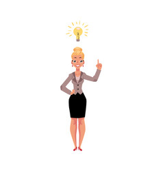 Businesswoman having idea light bulb as symbol of vector