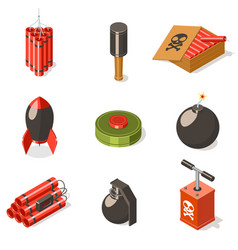 Set of explosive weapon icons vector