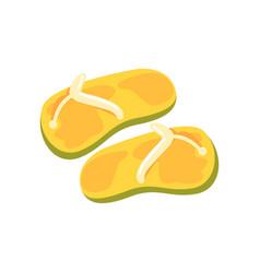 Pair of yellow flip flops cartoon vector