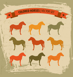 Colored horses icons set vector
