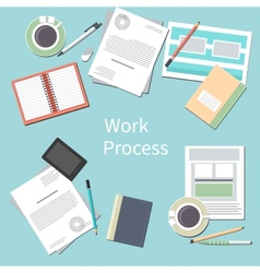 Office desk with personal accessories vector