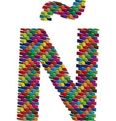 3d font latin letter n uppercase with tilde vector