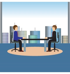 Businesspeople sitting at the table vector