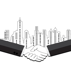 Two business men shaking hands vector image