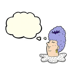 Cartoon queens head with thought bubble vector