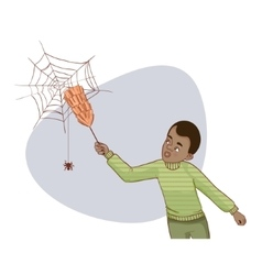 African american man tries to remove spider net vector